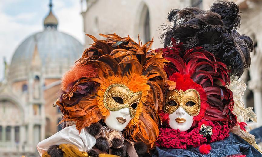 costumed people ready for Carnival in Venice
