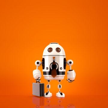 Robot con ventiquattrore su sfondo arancione