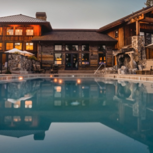 a lodge style hotel with a pool infront