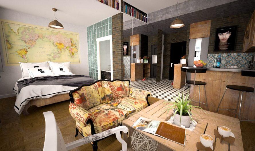 Habitación de un hotel de diseño con la última tendencia conceptual