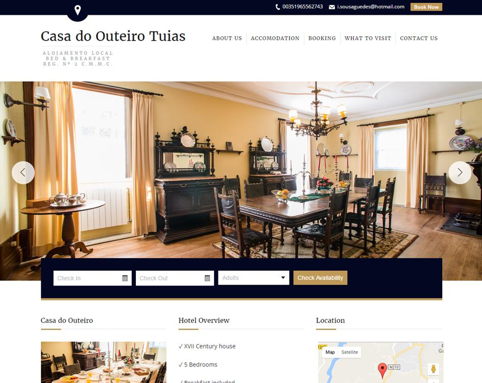 Página de inicio de la web del hotel Casa do Outeiro Tuias