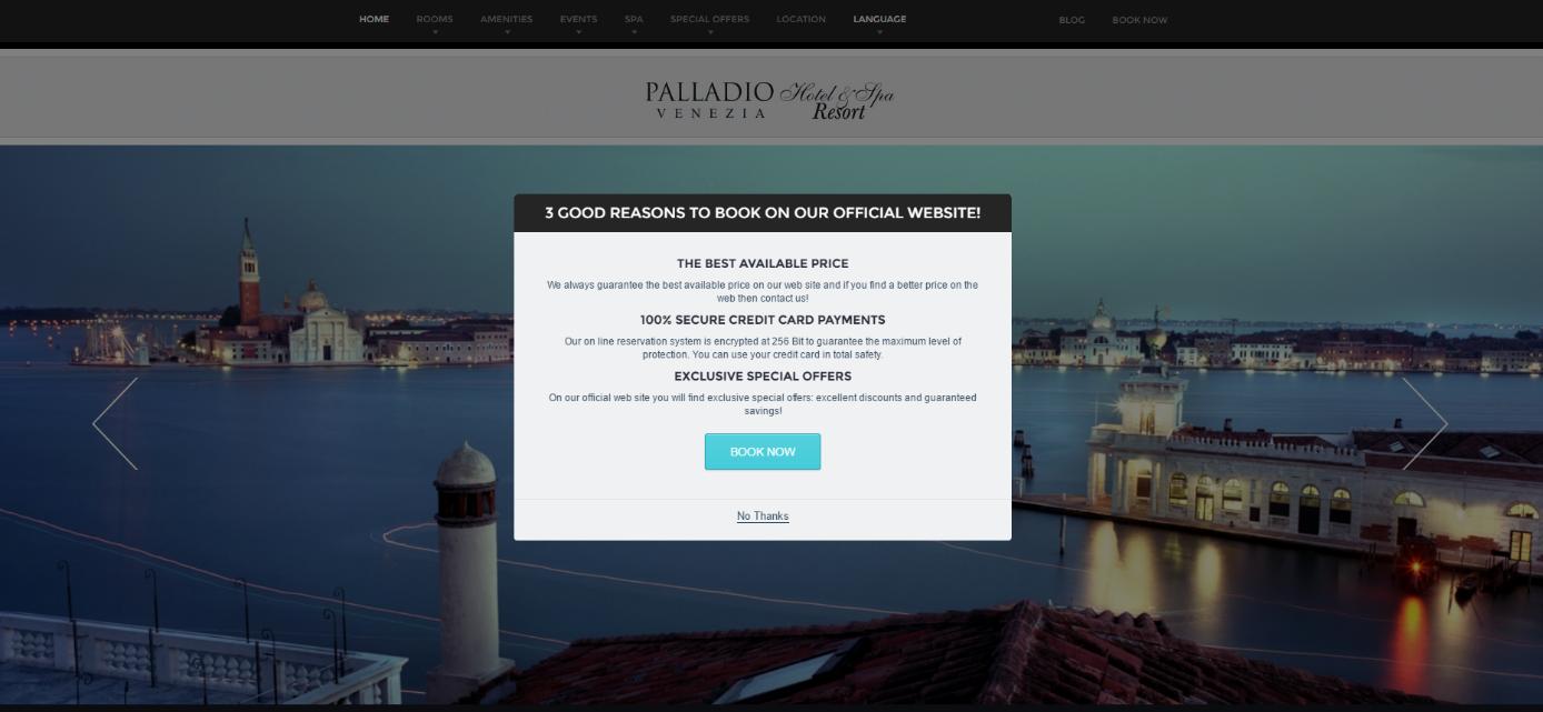 Página de inicio de la web del hotel The Palladio