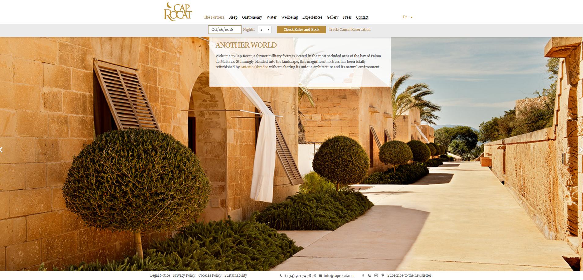 Página inicial do website do hotel Cap Rocat