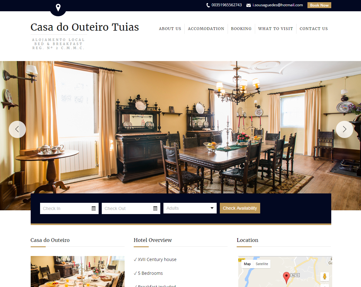Página inicial do website do hotel Casa do Outeiro Tuias