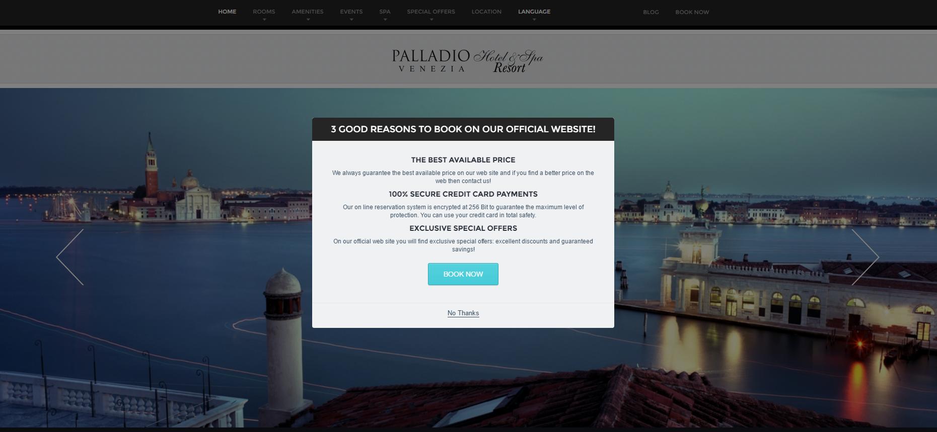 Página inicial do website do hotel Palladio