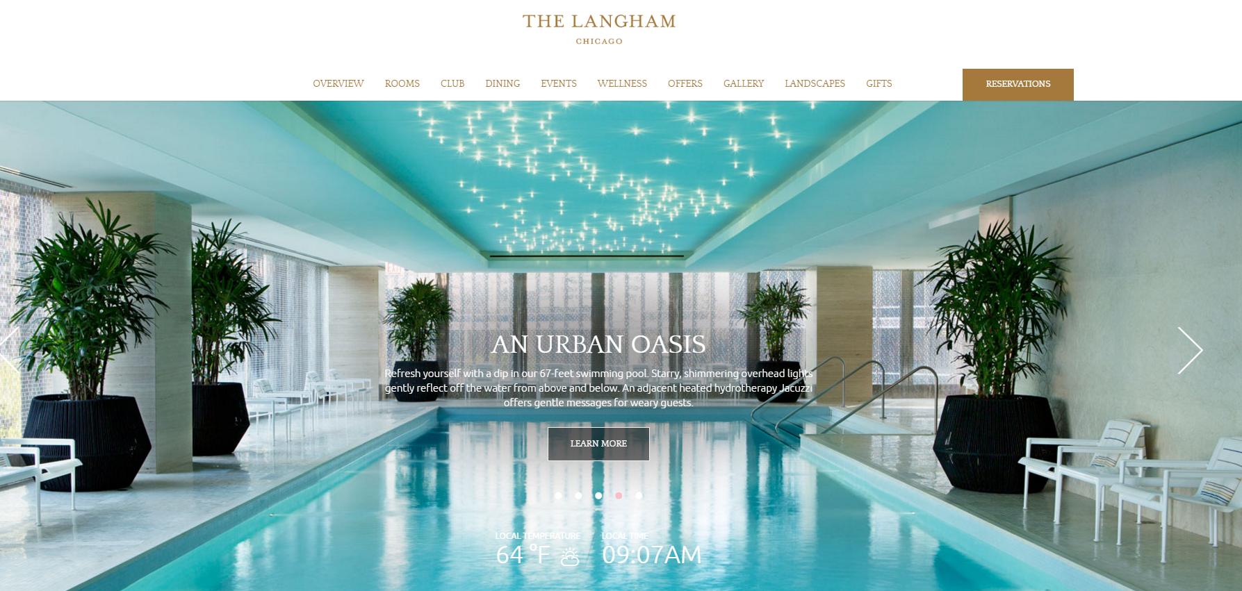 Página inicial do website do hotel Langham