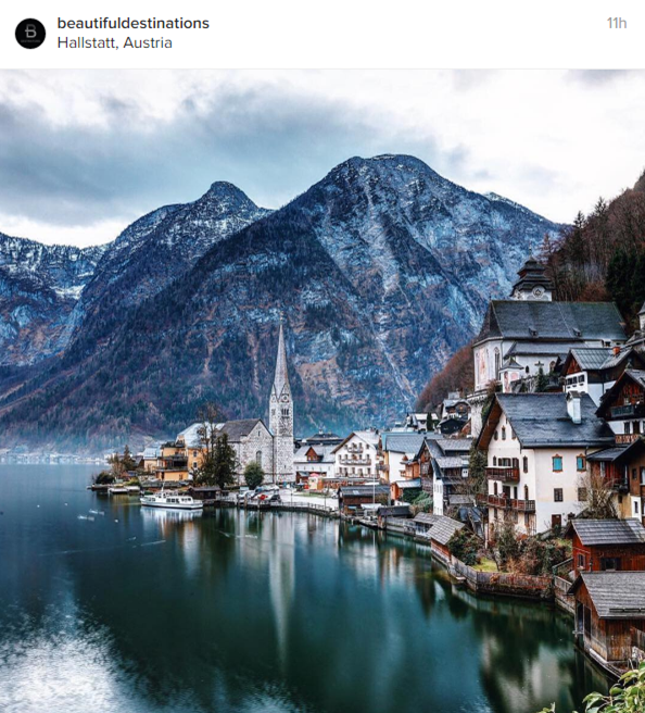 Una vista fascinante de Hallstatt (Austria)
