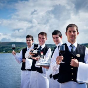 4 waiters from Harvey's Point near the waterfront