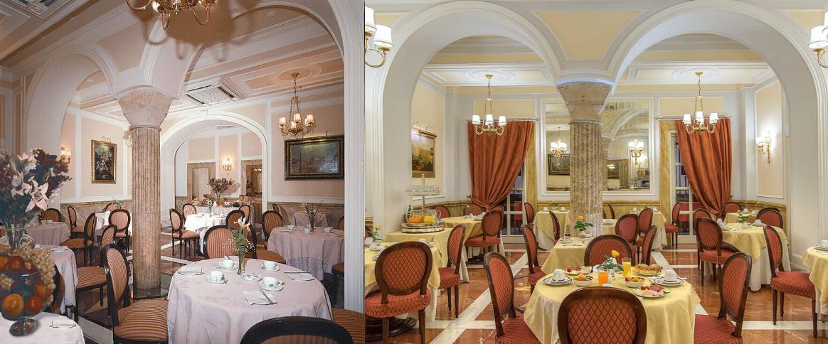 Sala colazione prima e dopo
