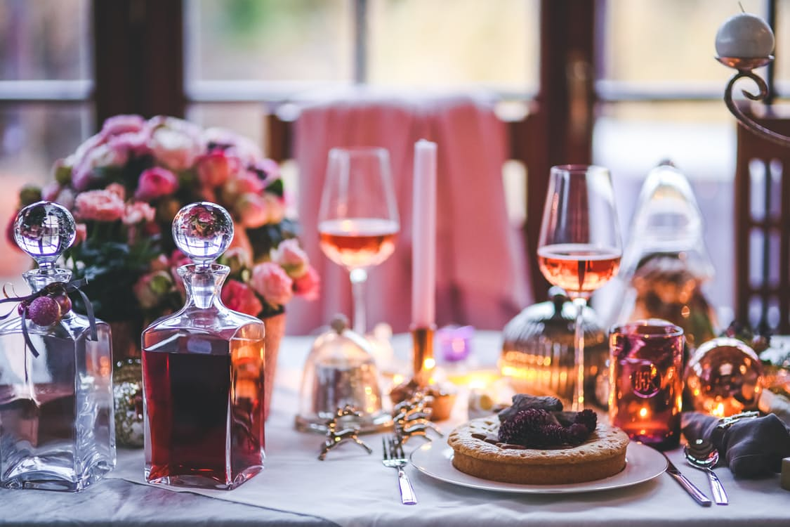 flowers, wine, and luxury food fare