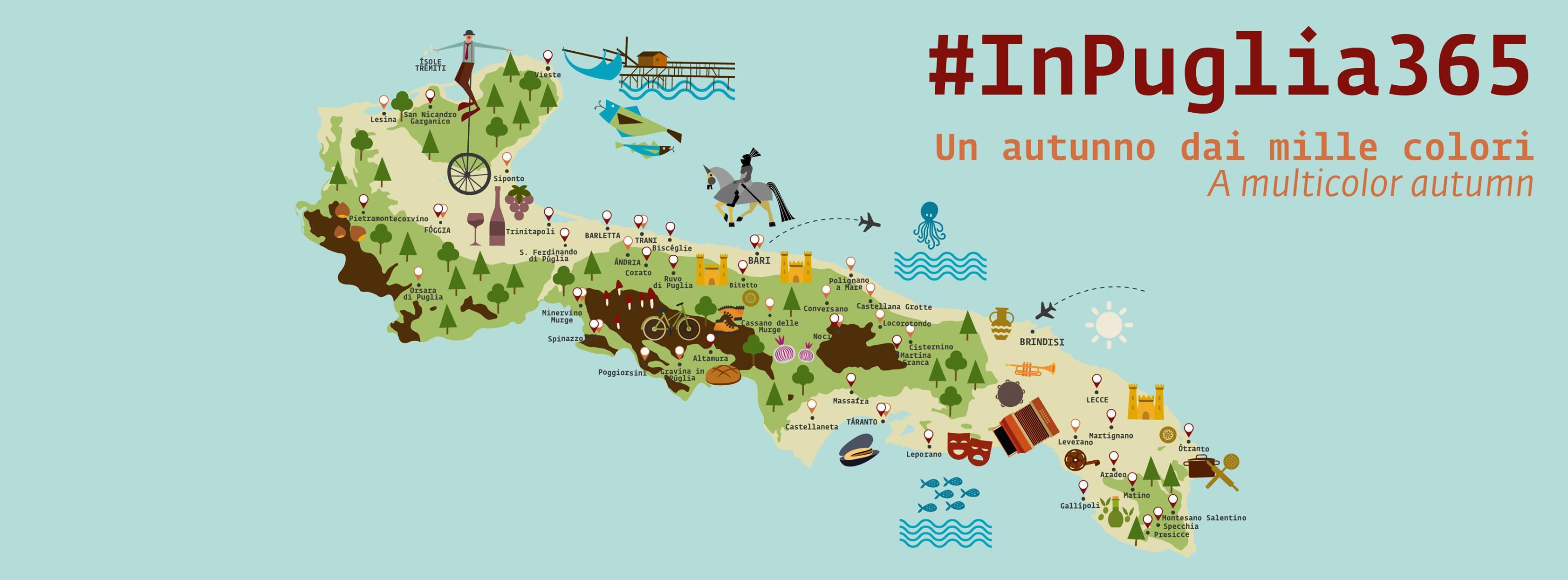 Cartina delle attrazioni della Puglia