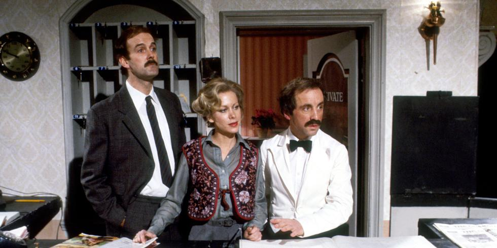 the ficticious fawlty towers hotel reception desk