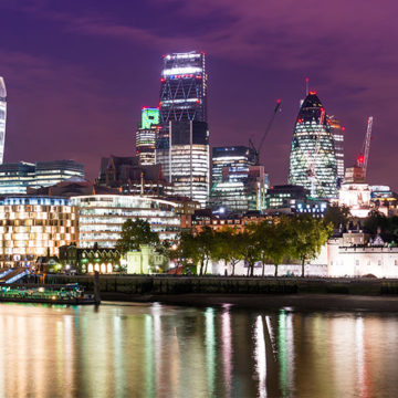 A night time city scape of London, the location for Travel Technology Europe 2017