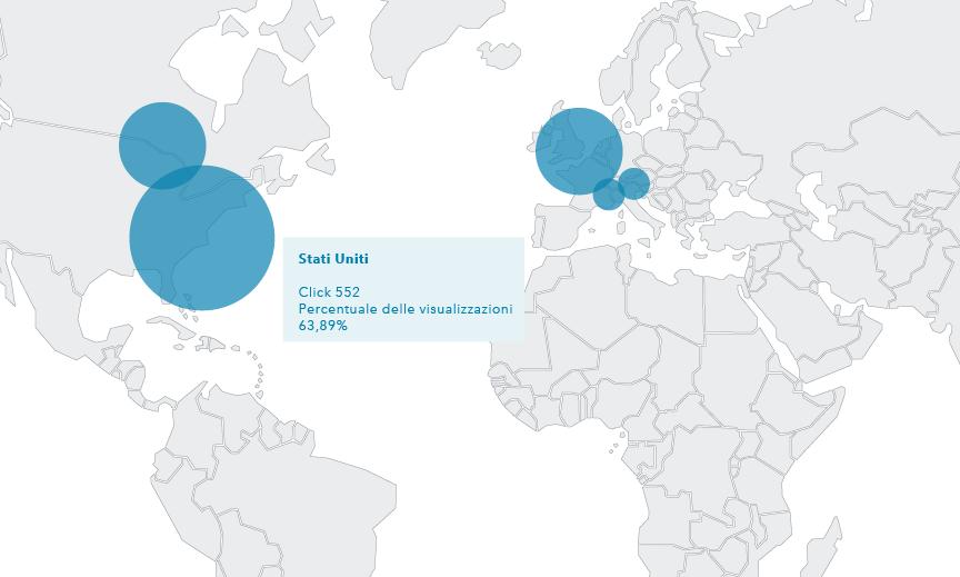 La mappa del Profilo dei visitatori mostra che la maggior parte dei viaggiatori interessati all'hotel viene dal Nord America e dall'Europa