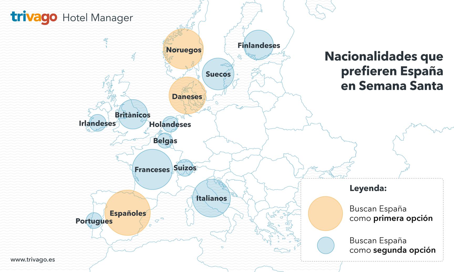 Mapa con las nacionalidades que prefieren España