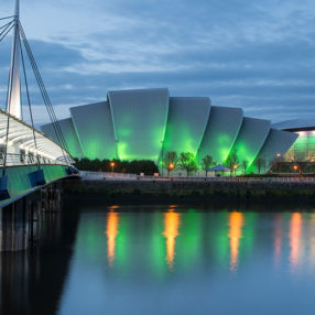 A night scene of Bells Bridge and the SEC Armadillo on the River Clyde in Glasgow
