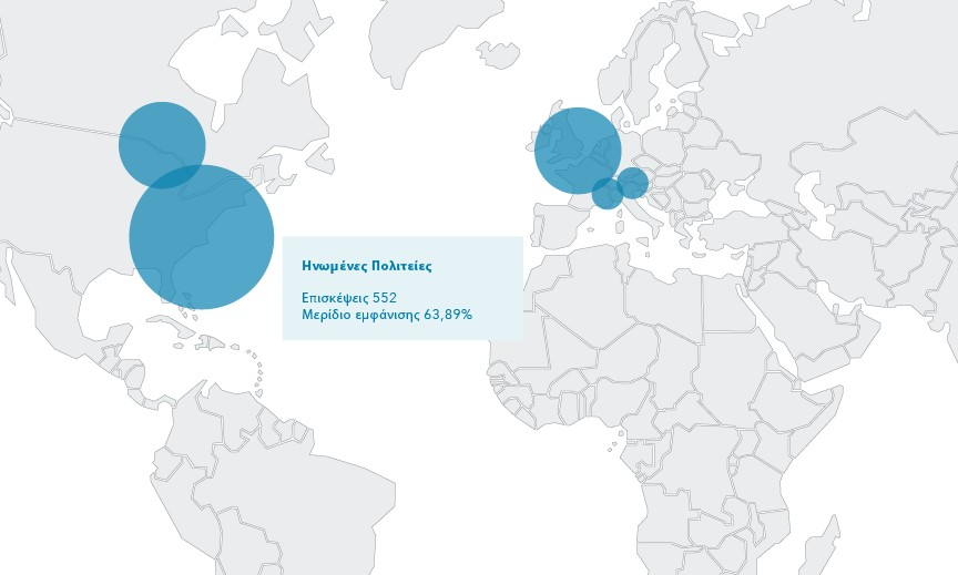 : Ο χάρτης του Προφίλ επισκεπτών αποκαλύπτει ότι οι περισσότεροι ταξιδιώτες που ενδιαφέρονται για αυτό το ξενοδοχείο προέρχονται από τη Βόρεια Αμερική και την Ευρώπη