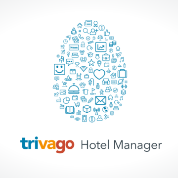 An Easter egg shape out of small icons and the trivago hotel manager logo
