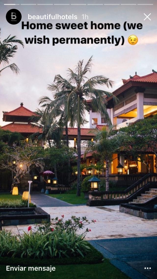 une publication Instagram Stories sur un hôtel sublime dont le texte en superposition mentionne « home sweet home (et si c'était pour toujours ?) »
