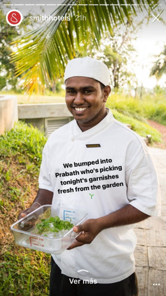 Instragram Story con cheff de hotel