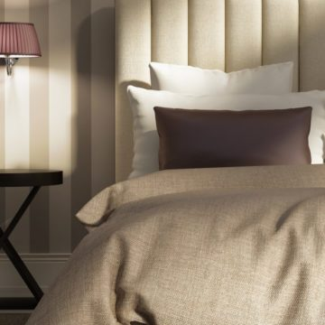 Contemporary elegant luxury atmospheric bedroom with wallpaper