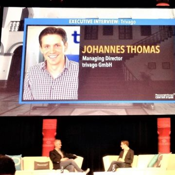 Johannes Thomas of trivago and Douglas Quinby of Phocuswright on stage discussing hotel metasearch