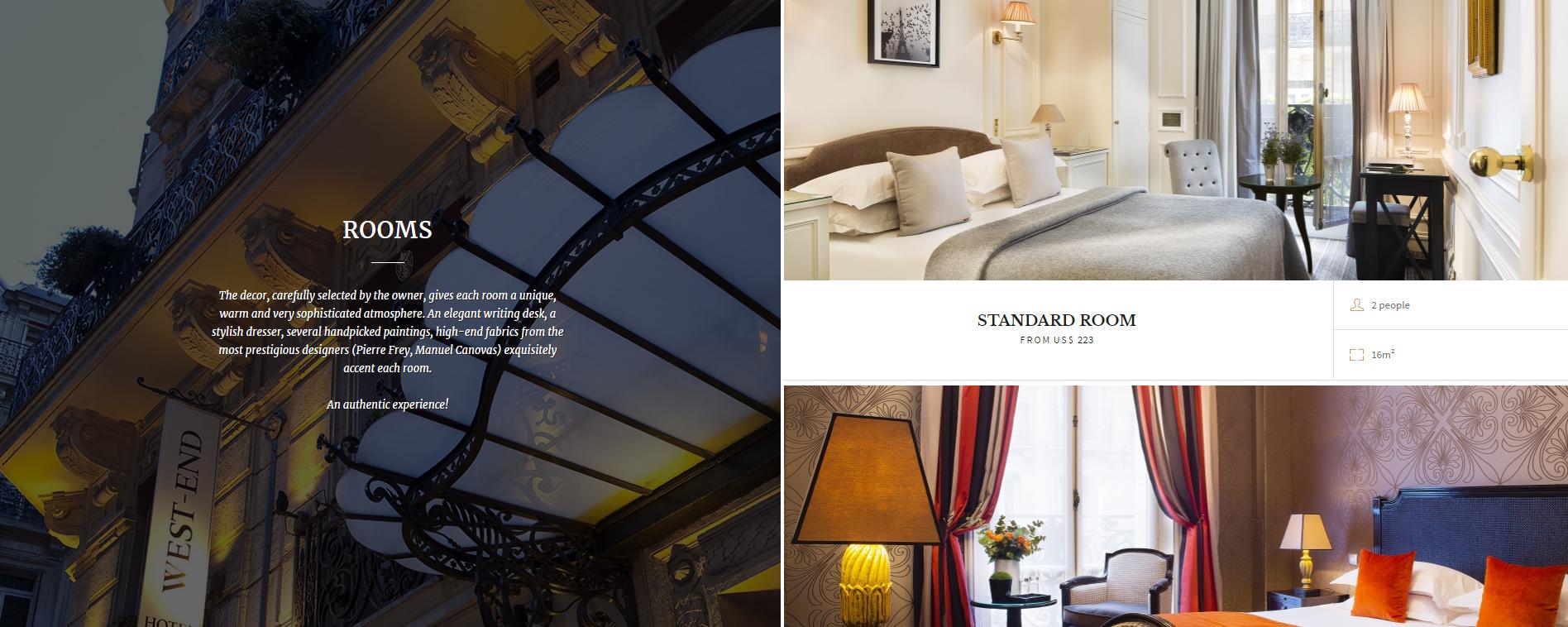 Εικόνα που δείχνει την ιστοσελίδα του ξενοδοχείου West End