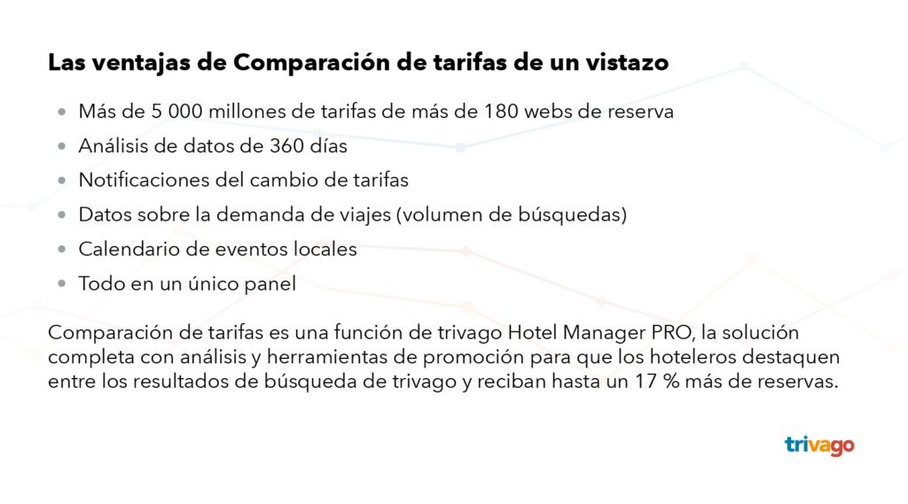Ventajas de Comparación de tarifas de un vistazo: datos de 360 días, notificaciones del cambio de tarifas, datos sobre la demanda de viajes, calendario de eventos locales y un único panel de control