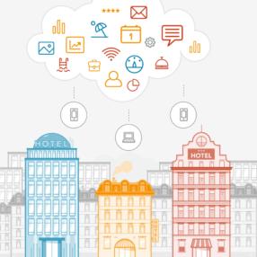 Un gráfico de un hotel, tecnología y nubes ilustra la pregunta: ¿Qué es un sistema en la nube?