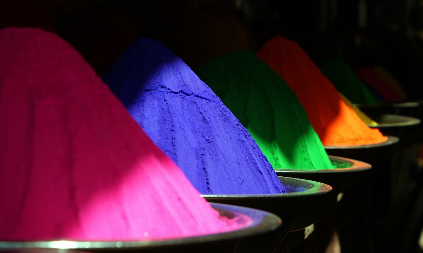 Holi powder: Brightly colored rice flour used in festivals in Nepal and India