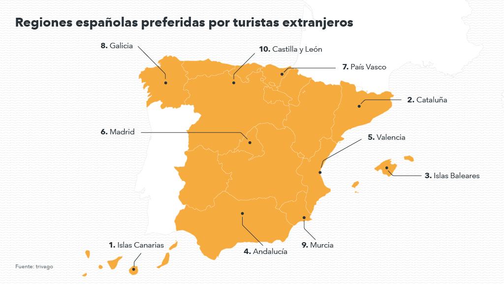 Mapa con las regiones preferidas por turista extranjero en otoño