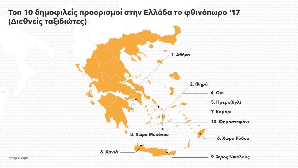 Ελληνικός χάρτης που δείχνει τις προτιμήσεις των ξένων τουριστών για το φθινόπωρο του 2017