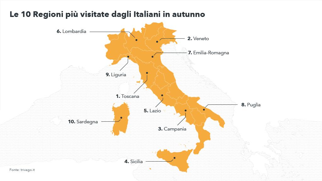 Mappa delle Regioni italiane più visitate dagli italiani in autrunno - Autunno 2017, tendenze viaggi e vacanze per trivago