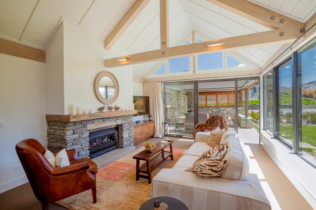 The living area in a suite at the luxurious Millbrook Resort in Arrowtown