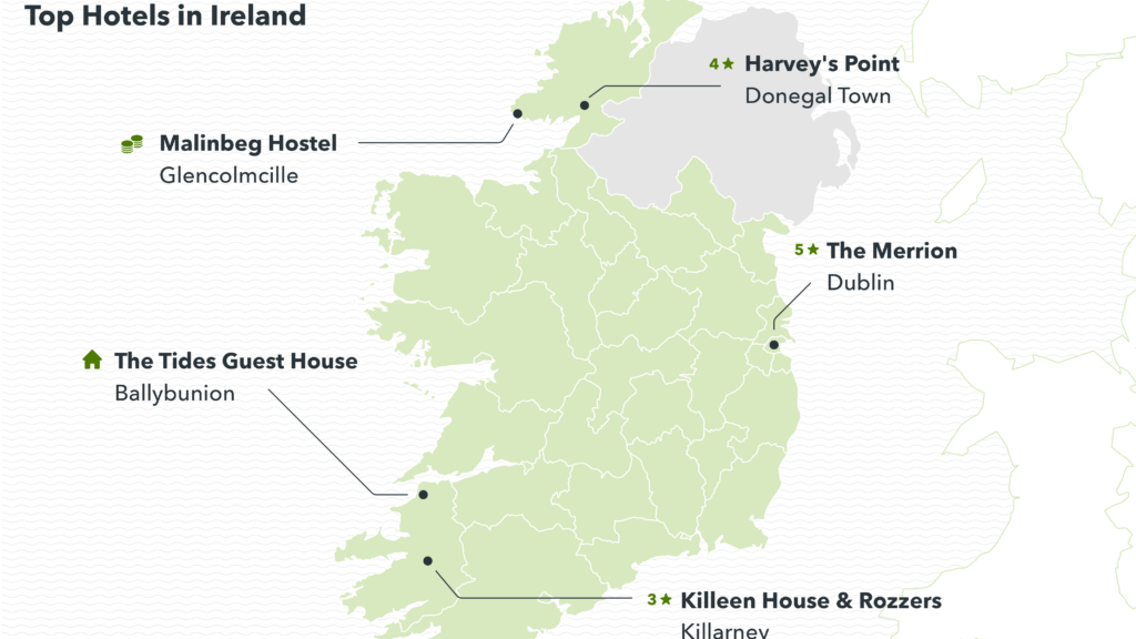 image showing the top-rated hotels in Ireland
