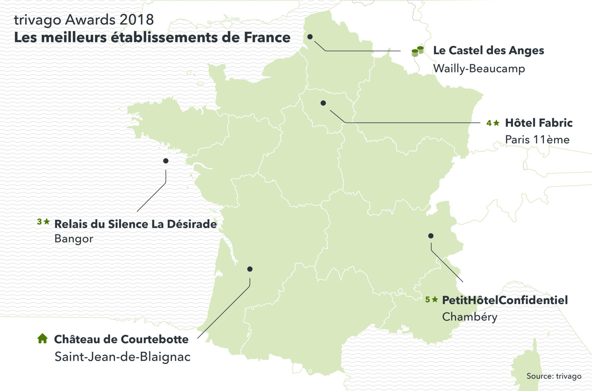 Carte des gagnants trivago Awards 2018 avec localisation exact par région
