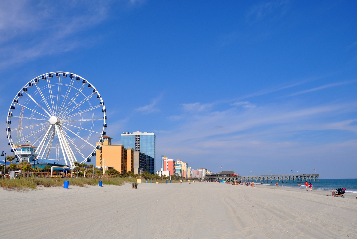 The beachfront promenade and ferris wheel at Myrtle Beach.