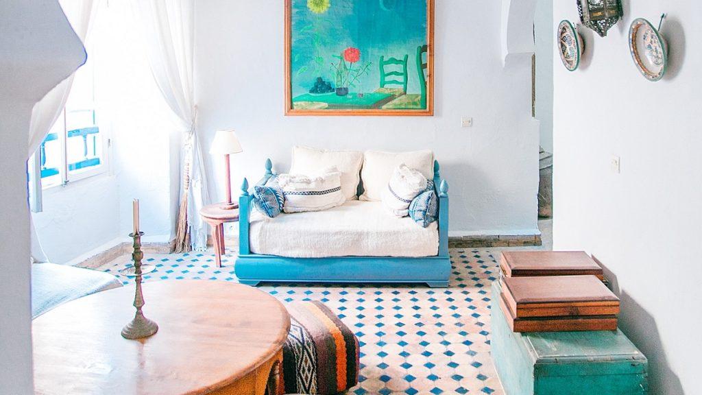 a vibrant moroccan hotel room