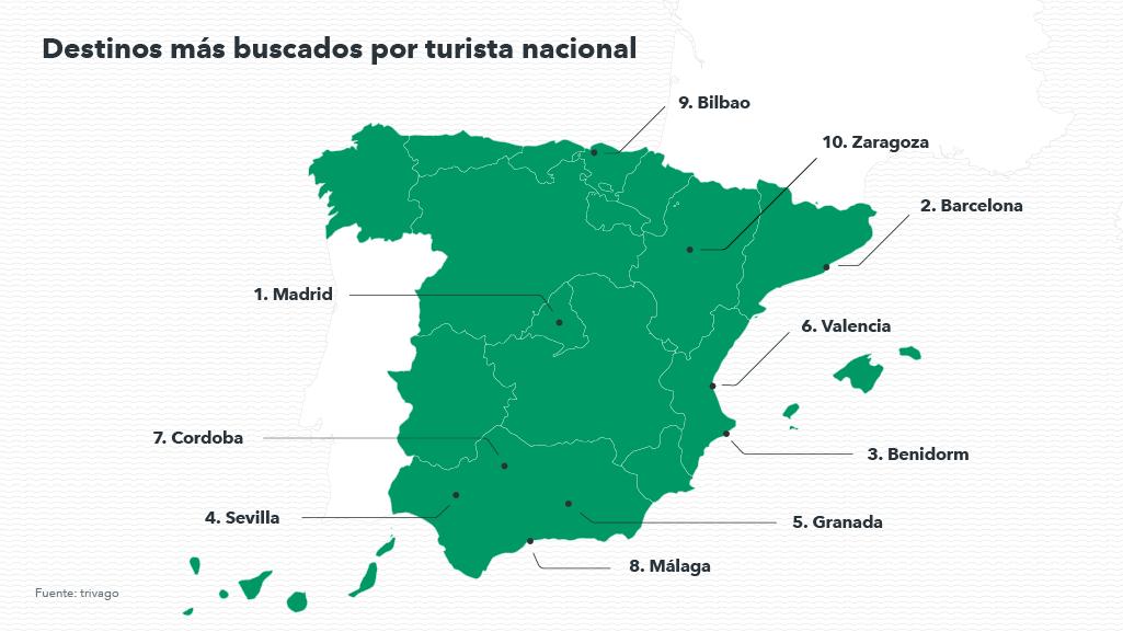 Mapa de los destinos españoles favoritos de invierno 2018