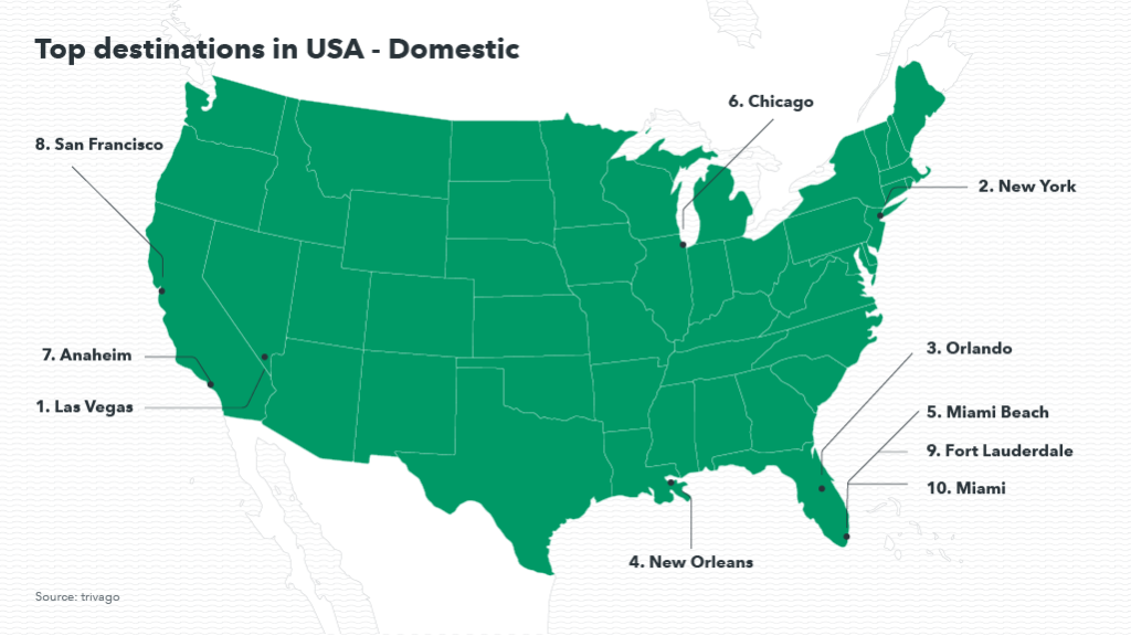 Map showing the most popular destinations in the US for domestic travelers
