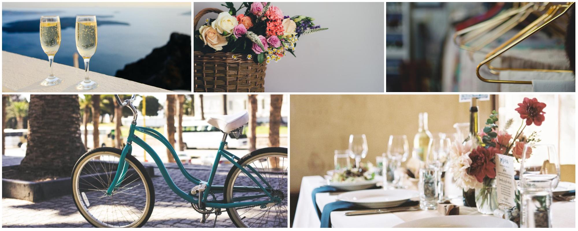 Fotocollage: Champagner, Geschenkkorb, Wäscheservice, Fahrrad, Abendessen