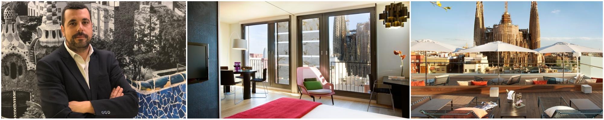 κολάζ:alfonso, δωμάτιο της AYRE στη Βαρκελώνη, θέα της σαγράδα φαμίλια