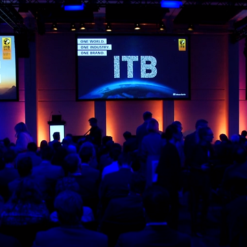 a view of the Messe Berlin contention hall with an ITB event